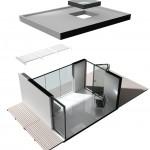 glass box modular house extension