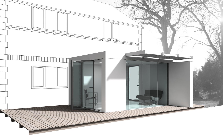 glass box modular house extension Nicolas Tye Architects