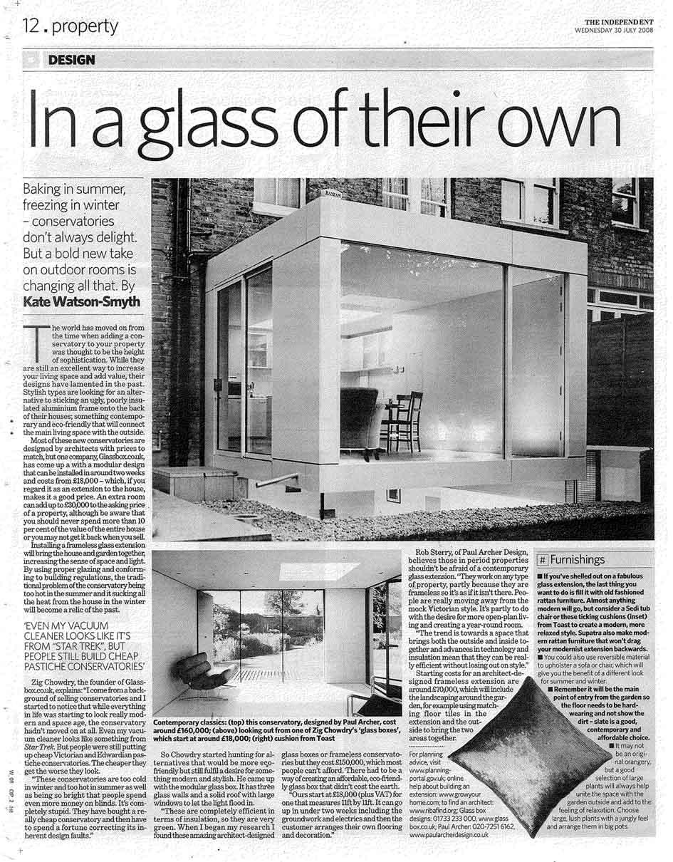 independent glassbox design nicolas tye architects. Black Bedroom Furniture Sets. Home Design Ideas